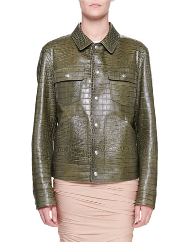 Crocodile-Embossed Leather Utility Jacket
