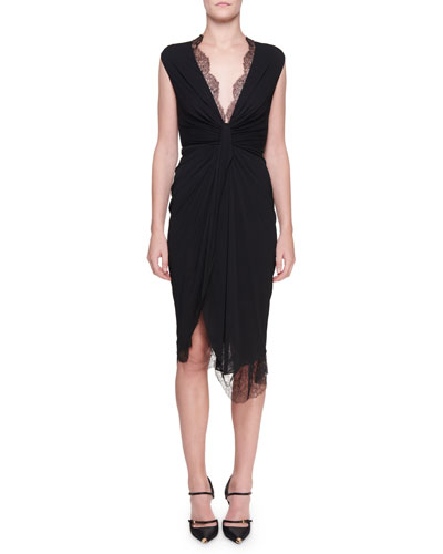 Lace-Trim Knotted-Front Jersey Dress