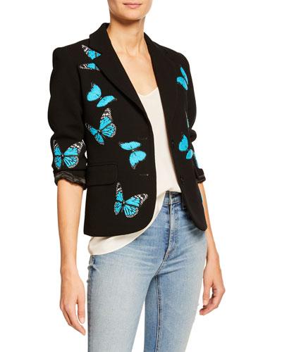 Blue Butterfly Two-Button Blazer