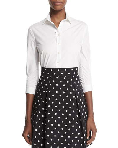 Classic Button-Front Shirt, White