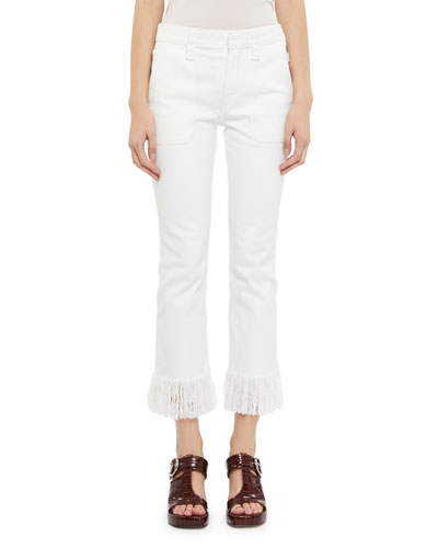 Cotton Fringe-Hem Cropped Jeans