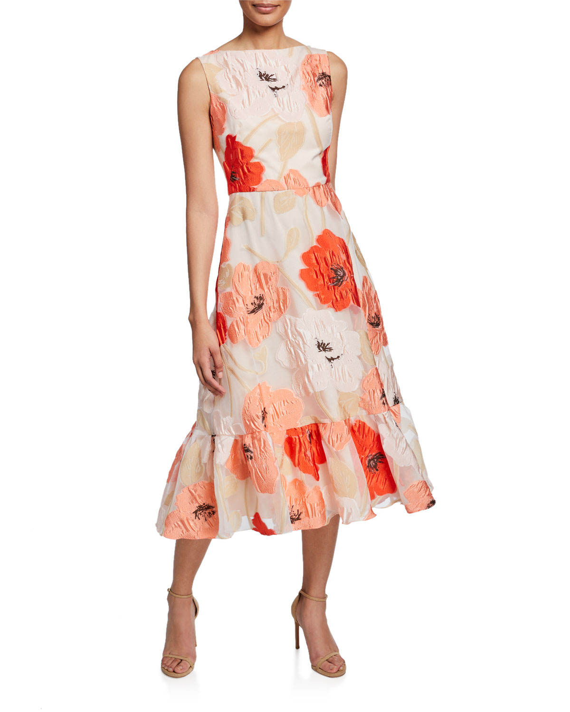 Lela Rose Dresses BOAT-NECK FLORAL FLOUNCE DRESS