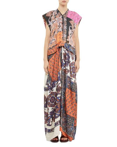 Long Cap-Sleeve Ruffled-Waist Patchwork Dress