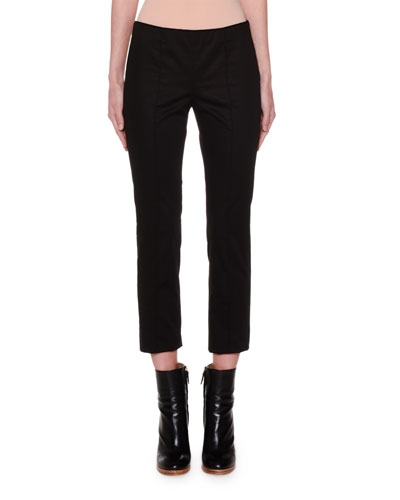 Fluid Stretch-Cotton Sateen Skinny Pants