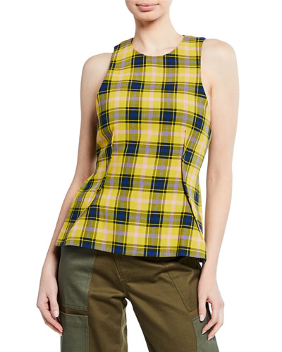 Sleeveless Plaid Top