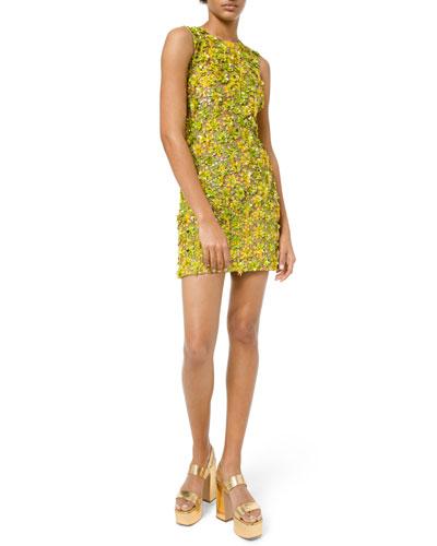 Daisy Lime Embellished Sleeveless Dress