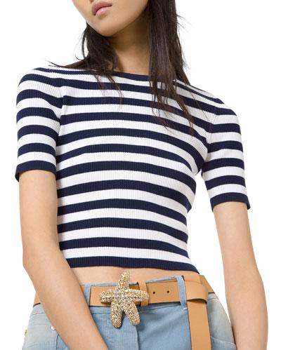 Breton-Striped Ribbed Stretch Jersey Tee