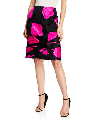 Rose-Print Silk Pencil Skirt