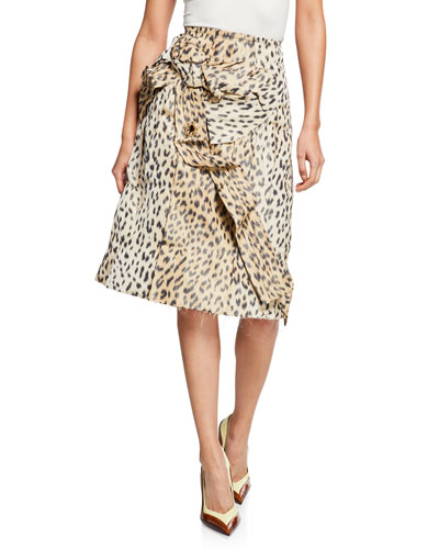 Crushed Leopard-Print Silk Pencil Skirt