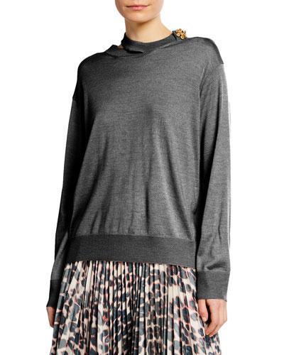 Cutout & Jeweled Merino Wool Sweater