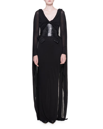 90f65b05e32 Grecian Draped Jersey Gown with Cape   Waist-Cincher Quick Look. TOM FORD