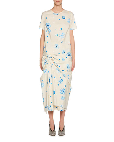Painted Flower-Print Short-Sleeve Poplin T-Shirt