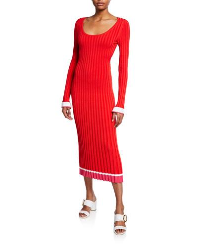 Long-Sleeve Open-Back Ribbed Knit Midi Dress
