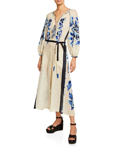 V-Neck Tasseled Floral Long-Sleeve Dress, White