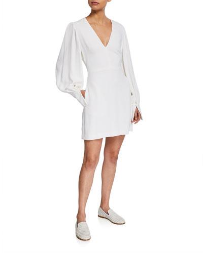 Bishop-Sleeve Cady V-Neck Mini Dress