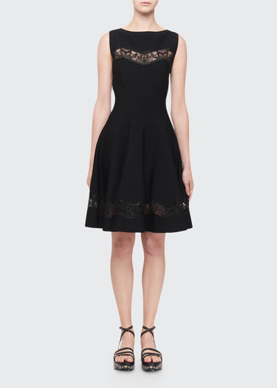 Raffia-Embroidered Sheer Panel Dress