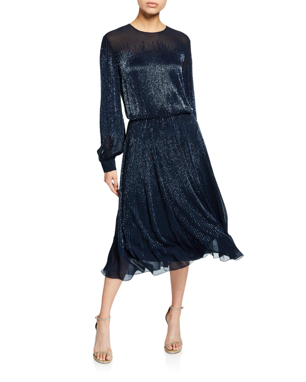 Ahluwalia EMILY SHEER BALLOON-SLEEVE COCKTAIL DRESS