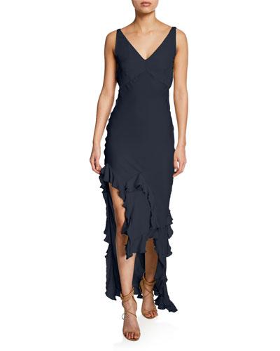 Sleeveless Silk Ruffled Hem Dress