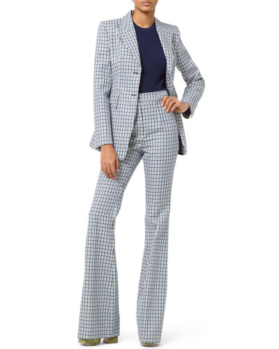 High-Rise Flare-Leg Checkered Pants