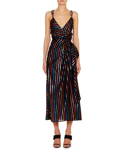 Rainbow Shimmer Striped Slip Dress