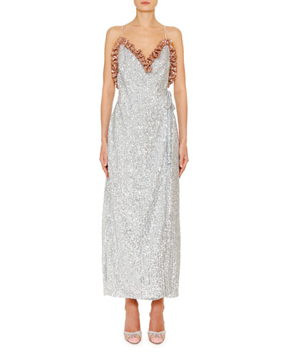 Sequined Frill-Trim Wrap Dress