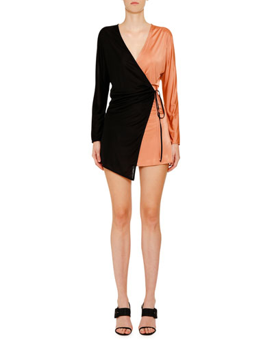 Bi-Color Fluid Jersey Asymmetric Wrapped Mini Dress