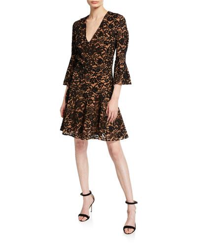 V-Neck Bell-Sleeve Lace Dress