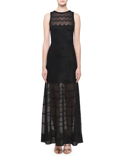 Sheer-Paneled Raffia Cotillon Gown