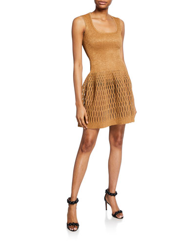 Shimmered Raffia Fit-and-Flare Dress