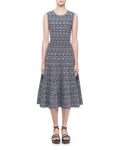 Labyrinth Intarsia Sleeveless Midi Dress, Navy