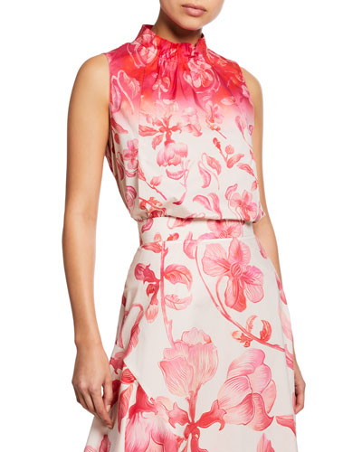 Sleeveless Floral-Print Turtleneck Top