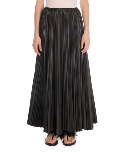 Plisse Leather Maxi Skirt
