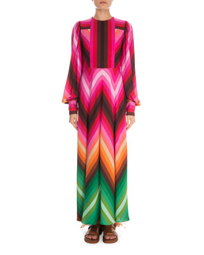 Long-Sleeve Rainbow-Print Long Silk Dress
