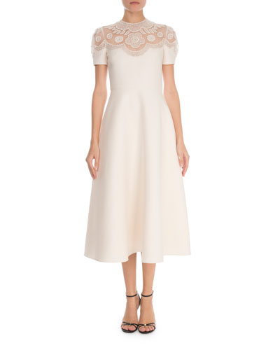 Short-Sleeve Crepe Couture Illusion Tea-Length Dress