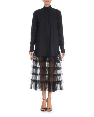 Tiered-Tulle Skirt Poplin Shirtdress