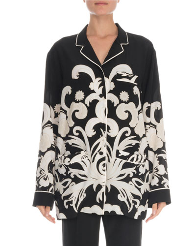 Pajama Print Crepe Blouse