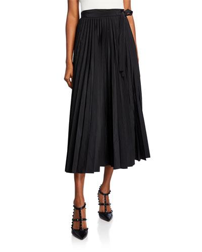 Pleated Micro-Faille Midi Skirt