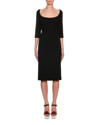 Scoop-Neck 3/4-Sleeve Crepe Pencil Dress