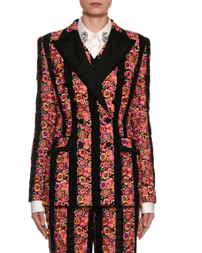 Double-Breasted Rose Striped Jacket