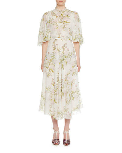 59f59a99bd Floral-Print Caplet Silk Dress