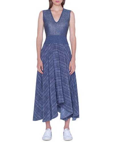 V-Neck Shimmer Handkerchief Dress