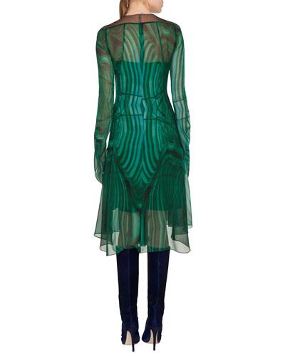 Akris Draped-Sleeve A-Line Malachite-Print Silk Crepe Dress w/