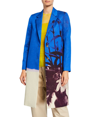 Floral-Print Metallic-Swirl Jacquard Coat