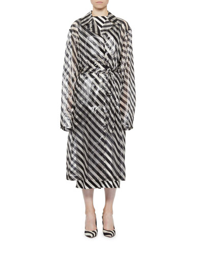Transparent Striped Trench Coat