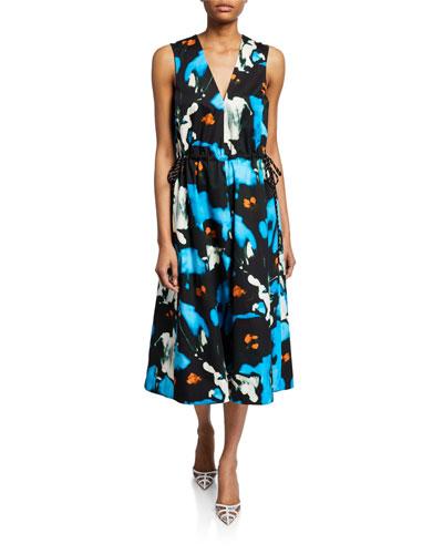 Floral Cotton Tie-Waist Dress