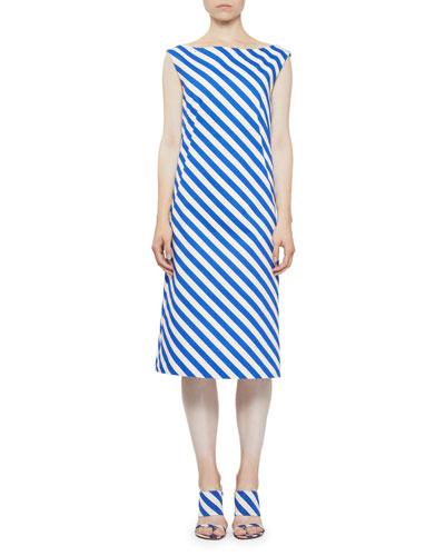 Striped Scoop-Back Cotton Dress
