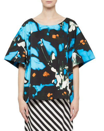 Abstract-Print Oversized Cotton Top