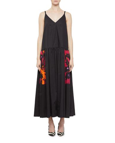 Sleeveless Magenta Drop-Waist Dress