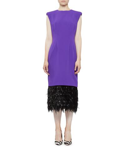 Cap-Sleeve Feather-Hem Cocktail Dress