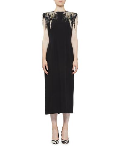Beaded-Shoulder Midi Dress